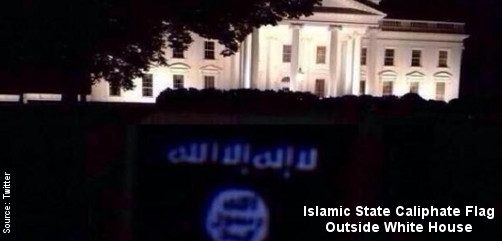 Islamic State Calihate Flag Outside White House - ALLOW IMAGES