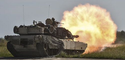 Soldiers conduct a live-fire exercise with M1A2 Abrams tanks at the 7th Army Training Command's Grafenwoehr Training Area, Germany, July 31, 2017. The soldiers are assigned to the 4th Infantry Division's Company A, 1st Battalion, 68th Armor Regiment, 3rd Armored Brigade Combat Team. Army photo by Gertrud Zach.   - ALLOW IMAGES