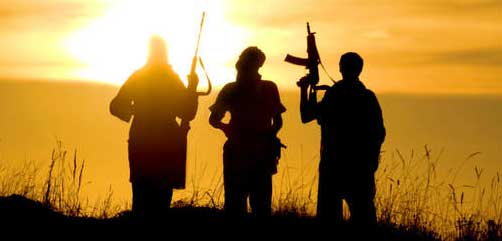 Jihadis at sunset - ALLOW IMAGES