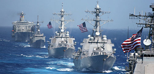 Formation of U.S. warships in the Western Pacific Ocean. Photo Credit: DoD - ALLOW IMAGES