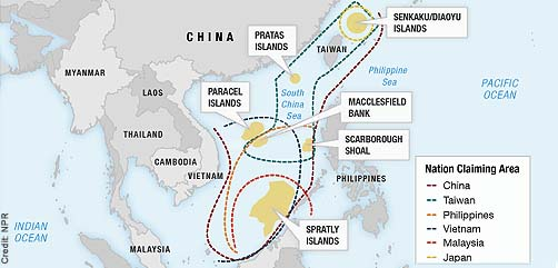 Map of Disputed China Sea Region - ALLOW IMAGES