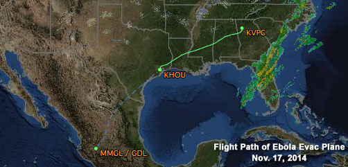 Flight Path of Ebola Evac Plane - ALLOW IMAGES