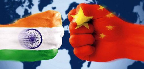 India and China fists collide - ALLOW IMAGES