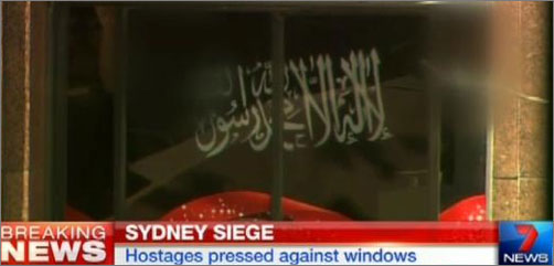 Islamic Flag Displayed During Sydney Terror Attack - ALLOW IMAGES