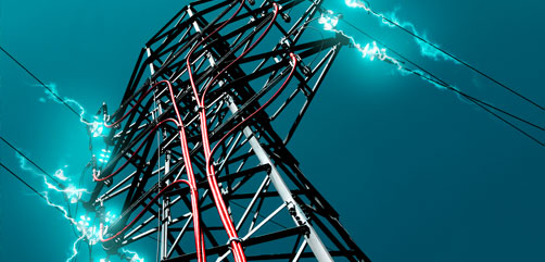 Arcing high tension power lines. - ALLOW IMAGES